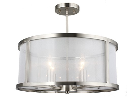 - Danbury 3 Light 18 inch Satin Nickel Pendant Ceiling Light or Flush Mount in Organza Wrapped (Satin Nickel) (Convertible to Pendant Lamp)