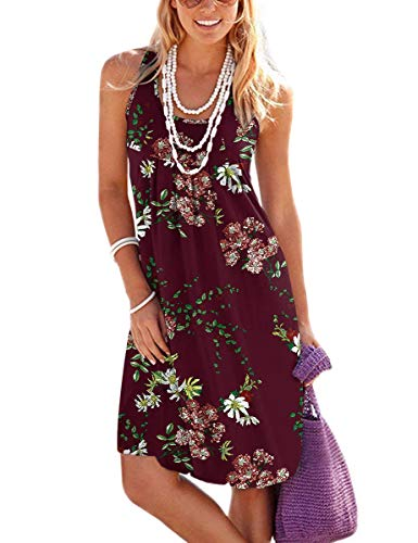 Jouica Women's Floral Vacation Clothes Sleeveless Beach Dresses with Pockets(Flower Wine Red,XS)
