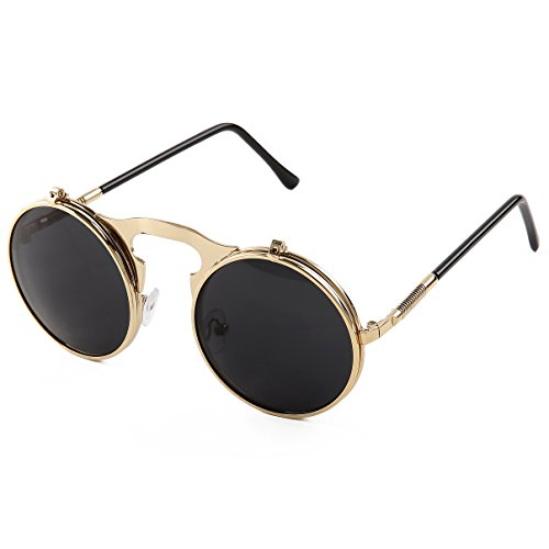 Pession Small Retro Steampunk Circle Flip Up Glasses / Sunglasses (Retro Sunnies)