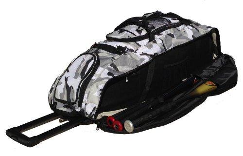 Catchers Bag in Gray Camouflage Cobra XL III Softball Baseball Bat Equipment Roller Bag by MAXOPS