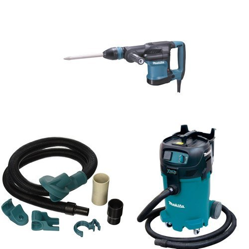 Makita HM0870C 11 lb. Demolition Hammer, accepts SDS-MAX bits, 196571-4 Dust Extraction Attachment, VC4710 12 Gallon Xtract Vac Wet Dry Dust Extractor Vacuum