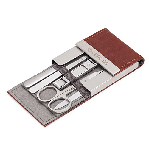Lerods Manicure Set - Stainless Steel Manicure Kit with Leather Travel Case and Gift Box - 5 Piece Nail Tools