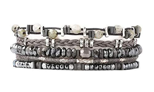 Chan Luu Green & Black Mineral Stone Mix Multi Strand Silvertone Black Leather Pull Tie Bracelet ()