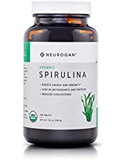 Neurogan Organic Spirulina Tablets USDA Certified, 500mg Tablets 400 Count – Raw, Natural & Pure Vegan Algae Superfood Rich in Vitamins, Minerals & Protein – Non-Irradiated, Non-GMO