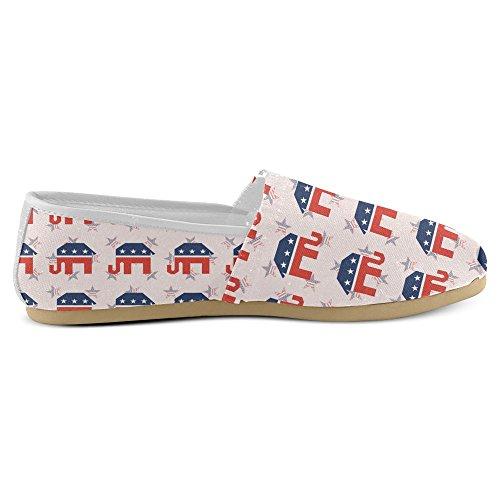 InterestPrint Frauen Loafers Klassische beiläufige Segeltuch-Beleg-auf Art- und Weise beschuht Turnschuhe-Ebenen Elefant