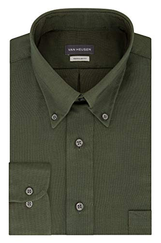 - Van Heusen Men's Regular Fit Oxford Button Down Collar Dress Shirt, Dark Green, X-Large