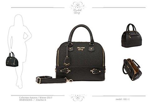 Elizabeth George Damen Handtasche 661-1 Schwarz Damentasche Henkeltasche Tragetasche Schultertasche Shopper Umhängetasche