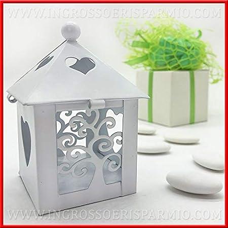 Segnaposto Matrimonio Lanterna.Ingrosso E Risparmio Lanterna In Metallo Bianco A Forma Di Casetta