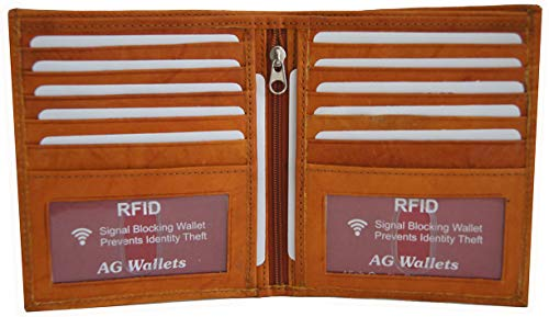 AG Wallets Men's RFID Cow Leather European Bifold Wallet Hipster 2 ID Windows Tan