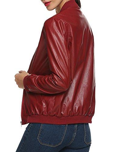 ACEVOG Chaquetas de Cuero Sintético Abrigo Rojo Cazadora Bike para Mujer Rojo