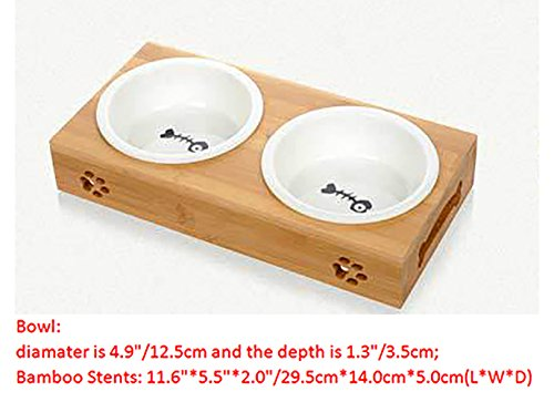 MaruPet Elevated Dog Cat Bowls, Raised Pet Feeder Solid Bamboo Stand Perfect for Cats and Small Dogs Teddy, Pug, Chihuahua, Shih Tzu, Yorkshire Terriers, Papillon Ceramic Small - Double Bowl ()