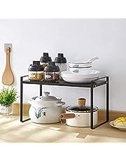 JEMYCO Cabinet Shelf Organizers, Kitchen Countertop Organizer, Cabinet Pantry Kitchen Counter-top Cupboard Shelf Organizer Rack (Extra-Thick Steel Plate, Hold 22.5KG), 40.5x21x24cm-Large