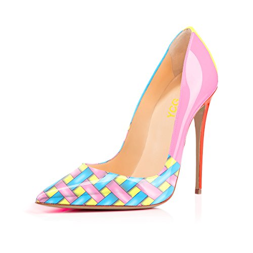 Women's High Heels Pumps Multicolor Stripe Cross Printing Manmade Leather Slip on Shoes US 6