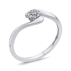 Diamond Fashion Ring in 14K White Gold (1/10 cttw, Colour GH, Clarity I2-I3) (Size-8.25)