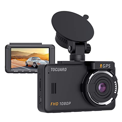 TOGUARD Dash Cam Built-in GPS 1080P Full HD Dash Camera for Cars Recorder 3'' LCD 170° Wide Angle Mini in Car Camera with G-Sensor, Loop Recording, Motion Detection, 24H Parking Monitor and HDR (Car Gps Recorder)