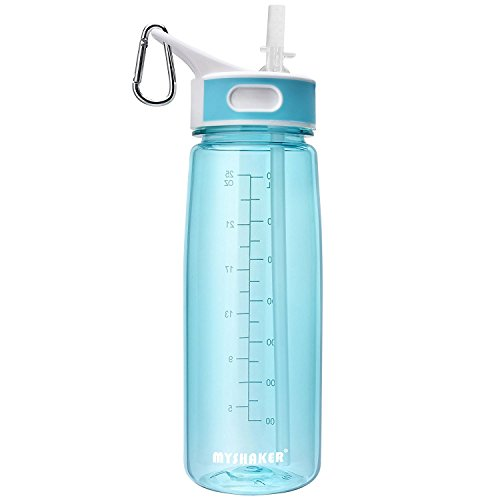 BOTTLED JOY Water Bottle, Reusable Sports Water Bottle with Straw and Handle BPA-Free Leak Proof Drinking Bottle for Travel Outdoor Hiking Camping, 28 oz 800ml (Blue)