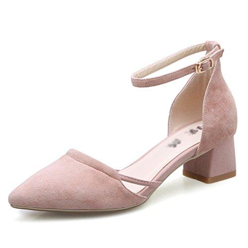 ZCJB Zapatos De Tacón Grueso Zapatos De Tacón Medio Grueso Con Sandalias Zapatos De Punta ( Color : Pink , Tamaño : EU36/UK3/L:22.5cm )