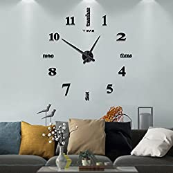 Modern Frameless DIY Wall Clock Large 3D Wall Watch Non Ticking for Living Room Bedroom Kitchen (Black-002) (2-Year Warranty)
