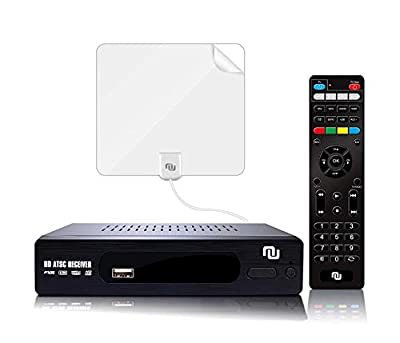 NUNET ATSC HD Digital Converter Box w/ 1080p HDMI Output, 35 Miles Over The Air(OTA) Antenna&Amplifier and Daily/Weekly Scheduled DVR Recorder for TV