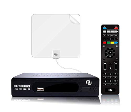 ATSC HD Digital TV Converter Box w/ 1080p HDMI Output, 50 Miles Over The Air(OTA) Flat Antenna & Amplifier, Daily/Weekly Scheduled PVR Recorder w. TV Control Learning Buttons (2019 Version) (White) (Best Digital Tv Converter Box 2019)