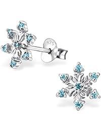 925 Sterling Silver Aqua Blue CZ Snowflake Christmas Stud Earrings 24476