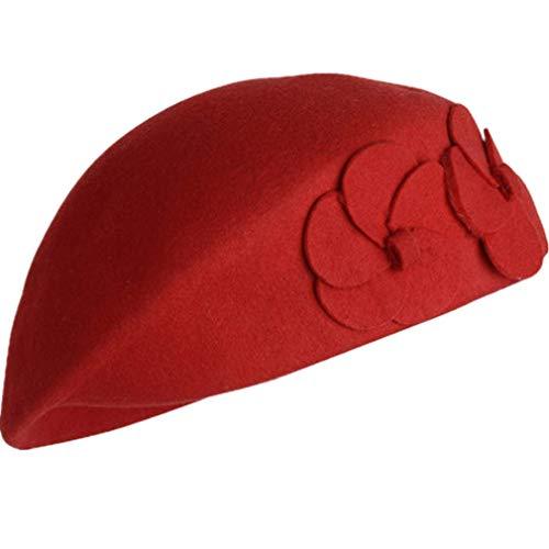 (TWGONE 100% Wool Womens Beret Felt Elegant Women French Style Tag Beanie Warm Pillbox Hat Tam Cap(Free)