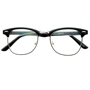 Geek Nerd Retro Vintage Style Clear Lens Half Frame Clubmaster Wayfarer Eye Glasses Frames (Black / Silver)