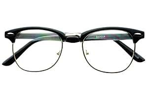 Amazon.com: Geek Nerd Retro Vintage Style Clear Lens Half