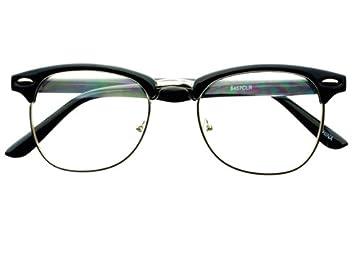 geek nerd retro vintage style clear lens half frame clubmaster wayfarer eye glasses frames black