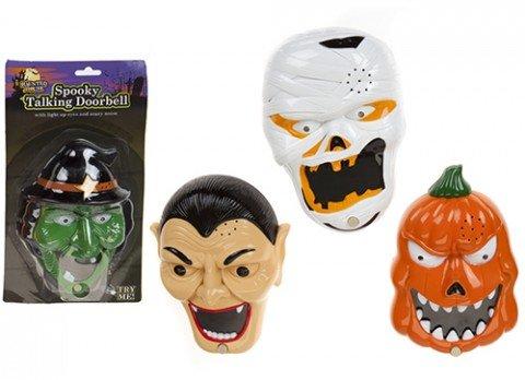 Haunted House PMS B/OP 4ASST Skull Style Horror Head Door Bell W/Spider B/ for $<!--$7.49-->