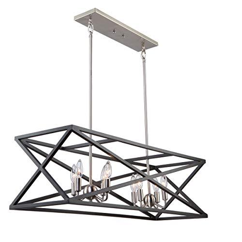 Island Lighting 8 Light Bulb Fixture With Black And Polished Nickel
