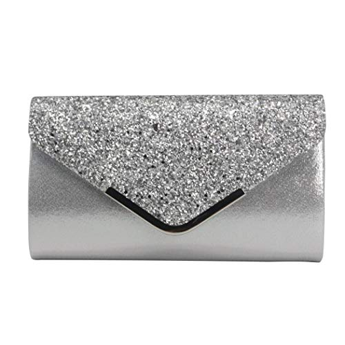 Beaded Bag Shoulder Leather (Onorner Women Sparkly Handbag Evening Clutch Purse Fashion Leather Shoulder Bag With Chain Strap (Silver))