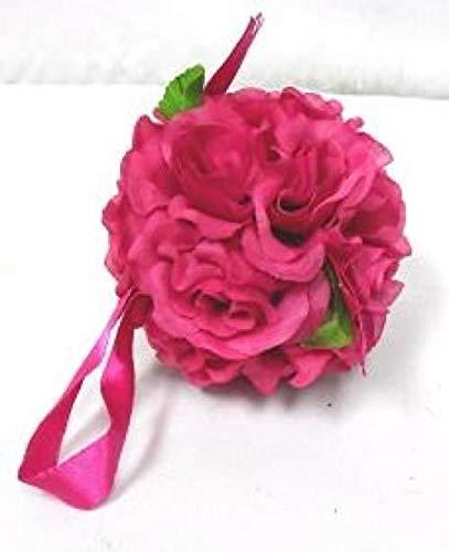6 Fuchsia Pink Rose Balls Pew Bow Wedding Silk Flower Girl Pomander Kissing Ball -