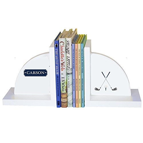 - Personalized Golf White Wooden Bookends