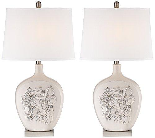 Ewan Ivory Ceramic Table Lamp Set of 2 - Floral Ceramic Table Lamp