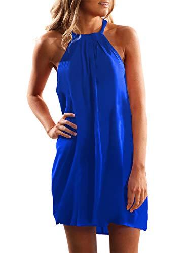 Dress Mini Holiday - ZKESS Womens Casual High Neck Halter Neck Solid Color Mini Beach Dress Summer Sundress Blue L