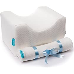 ComforTime Memory Foam Knee Pillow + 2 Cotton Covers. Side Sleeper Pillow for Sciatic Nerve, Leg Pain and Arthritis Pain Relief. A Perfect Pillow for Pregnancy and Breastfeeding Women