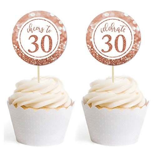 Andaz Press Glitzy Faux Rose Gold Glitter Round DIY Cupcake Toppers, Cheers to 30 Years, 30th Birthday or Anniversary, 20-Pack, Cake Dessert Party Decor