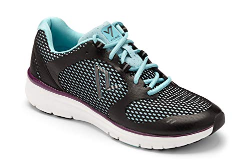 Vionic Women's VIO-NRG Elation 1.0 Lace Up Sneaker - Ladies Walking Shoes with Concealed Orthotic Arch Support Black Teal 8 Medium US