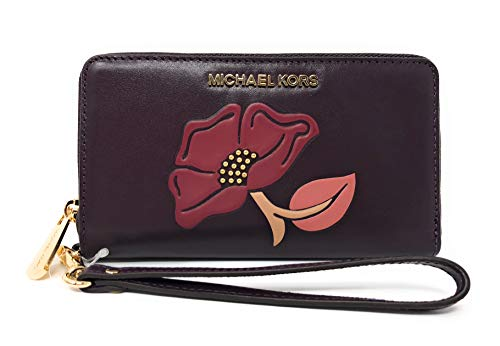 Michael Kors Nouveau Floral LG Flap Multi Function Leather Phone Case Wristlet Wallet - Michael Iphone Kors Wallet Case 4
