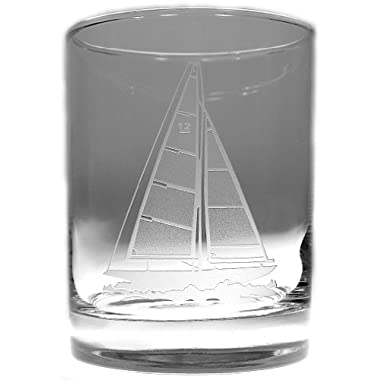 Sailboat Large Cocktail Glasses 4 H 14oz Set of 4 Nautical Tropical Home Decor
