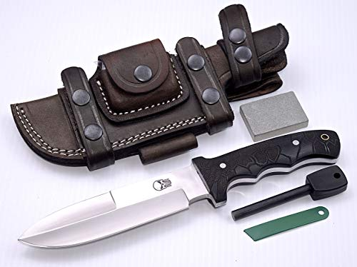 CFK USA Vector-Honeycomb D2 Tool Steel Battle Shark Bushcraft Tactical Hunting Knife with Horizontal Leather Sheath & Fire Starter Rod Set CFK111