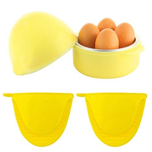 Microwave Boiler/Cooker, Coxeer Microwave Egg Cooker for 4 Eggs(Blue)