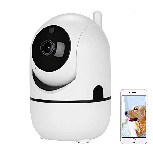 (Tiscen Dome Camera Pan/Tilt/Zoom 1080p WiFi Wireless IP Indoor Smart Home Security Surveillance Camera System with Night Vision and 2 Way Audio for Baby/Elder/Pet/Nanny Monitor (White) )
