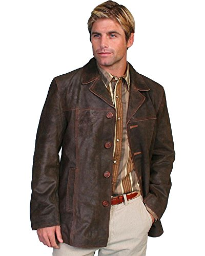 Suede Leather Car Coat (Scully Men's Calf Suede Leather Car Coat Brown X-Large)