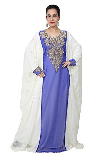 Vestido largo islámico islámico Kaftan árabe de Farasha de los hombres de los UAE Style de Bedi - tamaño único - (KAF-2934) Royal Blue