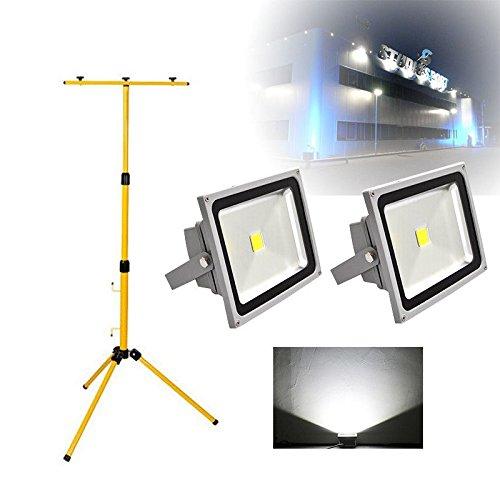 2 PCS 30W LED Foco Proyector de exterior con tripode, Blanco Frio ...