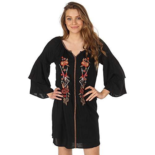 Embroidered Shift Dress Black (Wrangler Women's Floral Embroidered Shift Dress Black Medium)