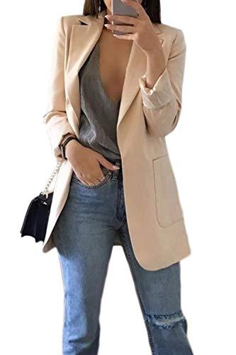 lunghe ufficio Cappotto da Giacca Outwear Khaki da maniche Blazer Cardigan a donna gxCWzgHFX