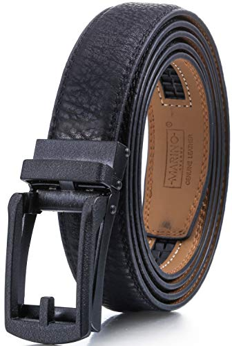 Marino Men's Genuine Leather Ratchet Dress Belt with Open Linxx Buckle, Enclosed in an Elegant Gift Box - Black - Style 157 - Custom: Up to 44